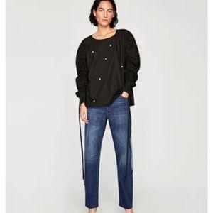 Zara premium denim pearl beads blouse.Size L
